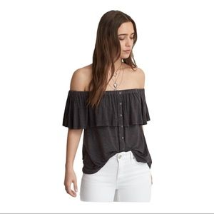 AEO  Soft And Sexy Off Shoulder Button Up Tee